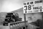 Crossing the 38th parallel.  United Nations forces withdraw from Pyongyang, the North Korean capital.  They recrossed the 38th parallel.  1950. (USIA) Exact Date Shot Unknown NARA FILE #:  306-FS-259-21 WAR & CONFLICT BOOK #:  1433