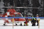 epa05816251 Jockey George Baker is transported to a hospital by helicopter after crashing during the GP Moyglare Stud, on the frozen Lake on the third weekend of the White Turf horse races in St. Moritz, Switzerland, 26 February 2017. The races were cancelled afterwards due to a crack in the ice.  EPA/GIAN EHRENZELLER