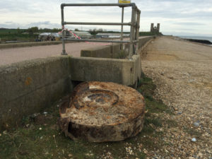 Part of a World War Two bouncing bomb found on Herne Bay, Kent. See National copy NNBOMB: A piece of what appears to be a World War Two bouncing bomb from the infamous 'Dambuster' raid has washed up on a picturesque beach. The May 1943 raid is one of the most memorable British war victories - and now a piece of one of the iconic explosives may have been discovered. Beach cafe owner Lisa Clayton has owned her business on Reculver Beach near Herne Bay, Kent, for 11 years, and spotted the bomb on Wednesday morning around 10am.