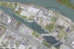 Luftbild Ingelheimer Aue in Mainz mit eingekreister Sicherheitszone