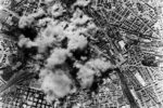 A view from one of the 150 Allied B17 Flying Fortress bombers attacking the San Lorenzo freight yard and steel factory in Rome, 19th July 1943. During the raid, a total of 521 allied aircraft bombed three targets in the city.  (Photo by Keystone/Hulton Archive/Getty Images)