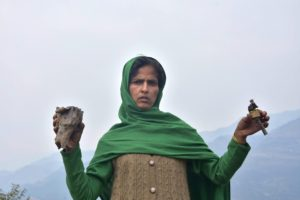 Poonch: A villager shows the tail of a mortar shell after firing from the Pakistani side at  Mendhar in Poonch district, Friday, March 01, 2019. (PTI Photo) (PTI3_1_2019_000161B)