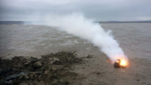 Unexploded munition on fire in the Gower Peninsula 150319 CREDIT ROYAL NAVY