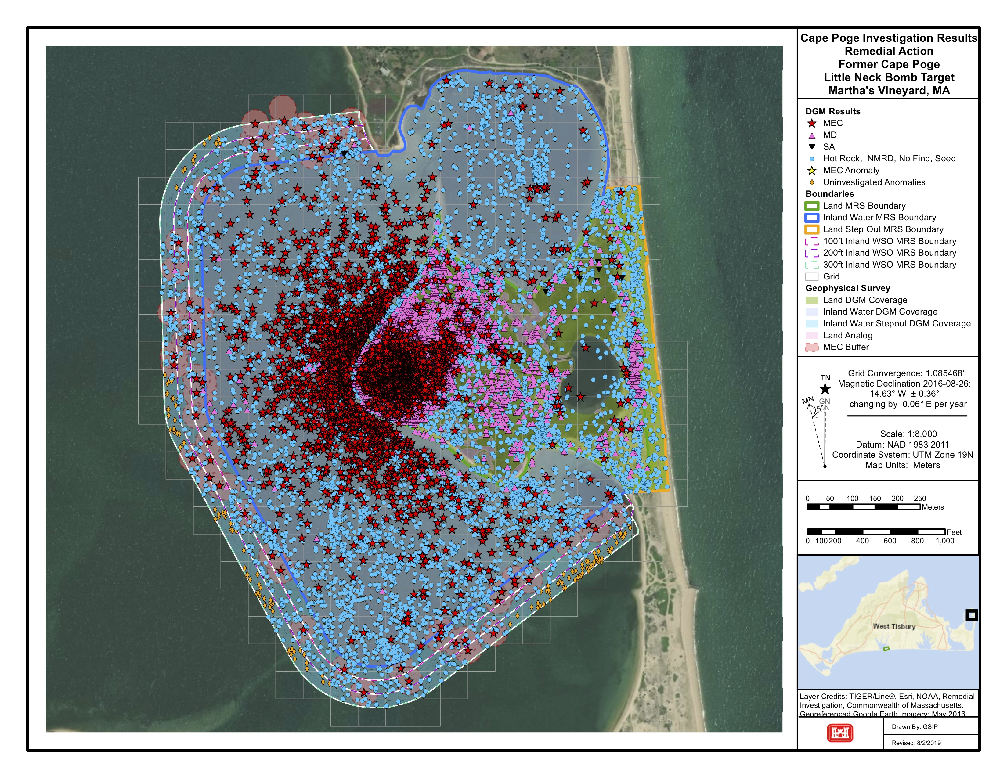 A map of the Cape Poge munitions recovery area. Red stars are munitions and explosives of concern (MEC). Pink triangles are munitions debris.