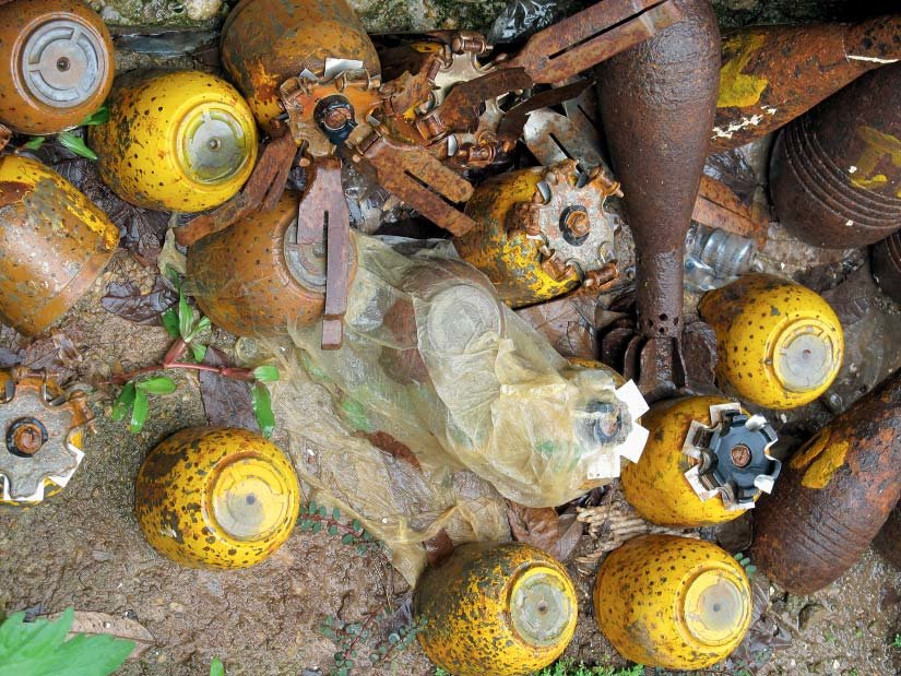 Yellow-BLU-3-cluster-submunitions-gathered-at-a-local-government-office-in-Phonesavanh