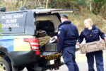 Royal Naval Bomb Disposal squad prepareto remove  the  suspect device found on the beach at benderloch Oban Coastguard  and members  of Police Scotland were in attendance to keep the area clear of dog walkers. The device was found to be not a danger to the public and the bomb disposal squad removed the device picture kevin mcglynn