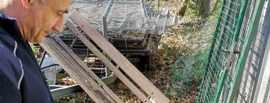 Jörg Seeliger vom Kampfmittelbeseitigungsdienst begutachtet am gestrigen Donnerstag den jüngsten Munitionsfund am Finsterwalder Tierpark: zwei Granaten.