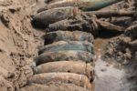 Unexploded bombs in a row on Humberside coastline 070820 CREDIT British Army