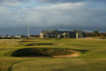 TROON - OCTOBER 10:  General view of the par 4, 18th hole and clubhouse from where the tee shots finish on a stormy evening taken during a photoshoot held on October 10, 2003 at the Royal Troon Golf Club, venue for the 2004 Open Championships, in Troon, Scotland. (Photo by David Cannon/Getty Images)