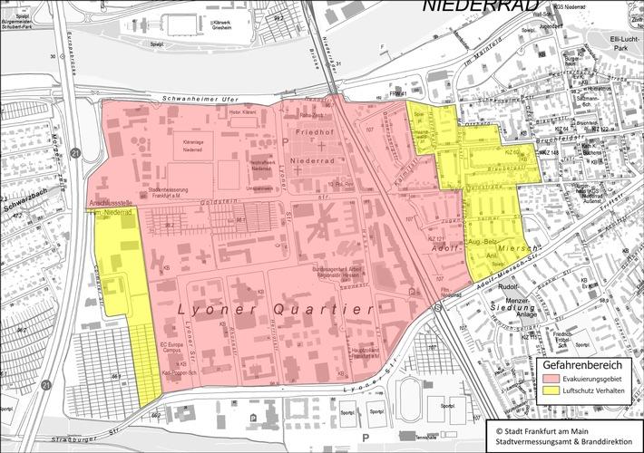 Karte mit Evakuierungsbereich und Luftschutzverhalten